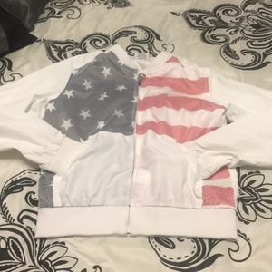 White windbreaker perfect for 4th of July